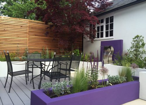 Small Garden Design - Purple Planters