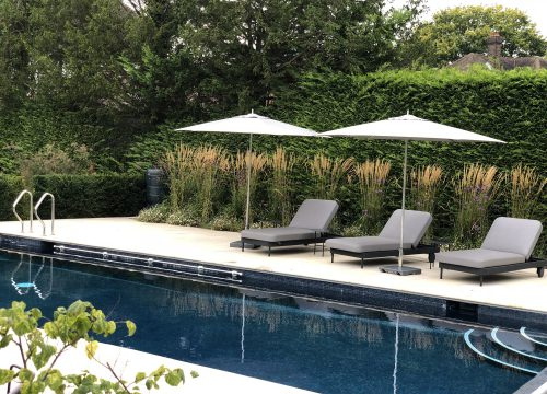 Contemporary Large Garden - Swimming Pool
