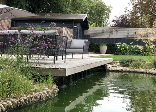 Contemporary Large Garden - Pond