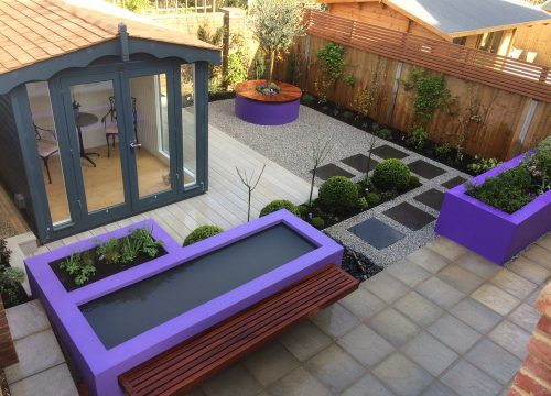 Landscape Construction - Purple Brick Planter