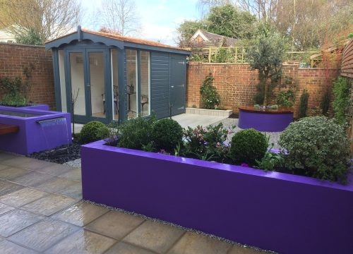 Landscape Construction - Purple Brick Planters