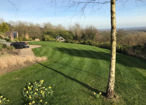 Garden maintenance - grass pattern mowing